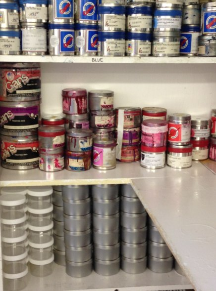 Stacked paint cans